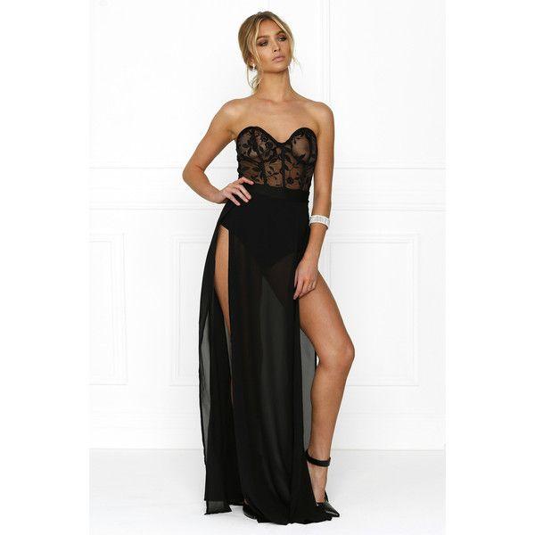 Honey couture chantel black sheer mesh detail bustier strapless ...