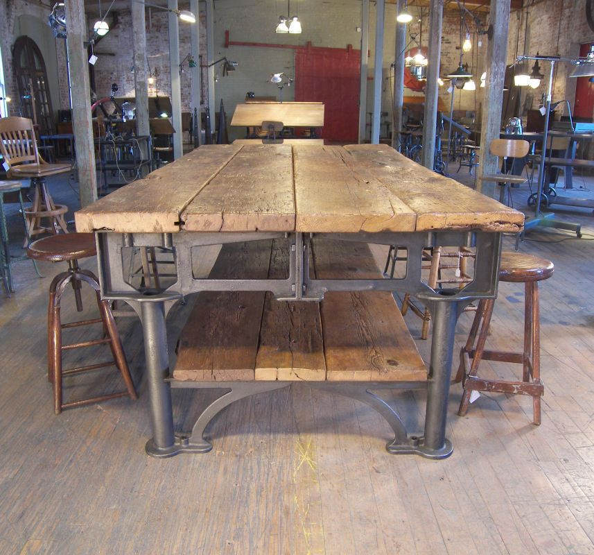 Bench Dining Vintage Industrial Bespoke Dining Table Bench: Vintage Industrial Cast Iron & Wood Display Work Bench