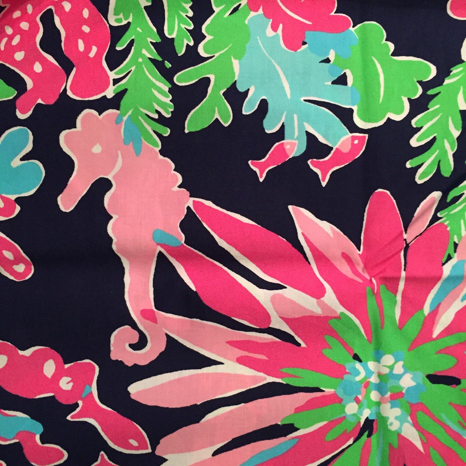 7f4c22d8491272 3 square patches of Lilly Pulitzer fabric in Sippin n Trippin (navy) -  perfect