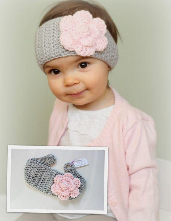 Items similar to Head Warmer, Child Ear Warmer, Pink and Gray Head Warmer, Adult - Child - Baby, Head Warmer Crochet, Baby Head Warmer with Flower on Etsy