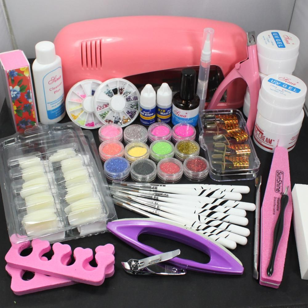 Pro Nail Art UV Gel Kits Tools Pink UV lamp Brush Tips Glue Acrylic ...