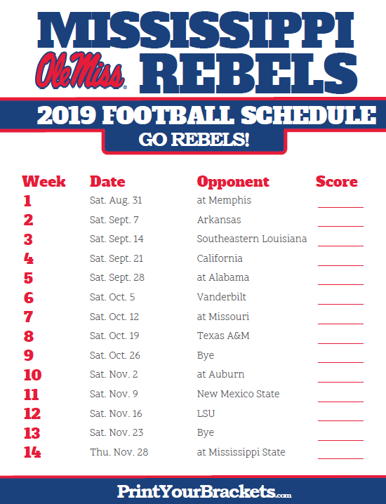 2019 Printable Mississippi Rebels Football Schedule Memphis Tigers Football College Football Schedule Uab