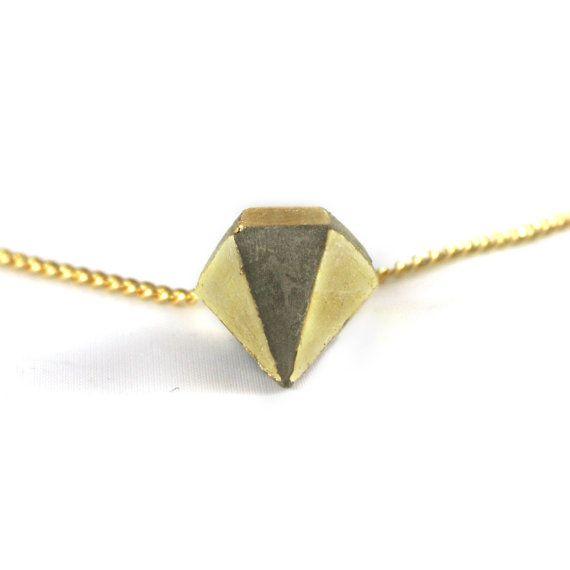Collier - Sautoir mini-diamant béton doré en damier par Le BacàSable