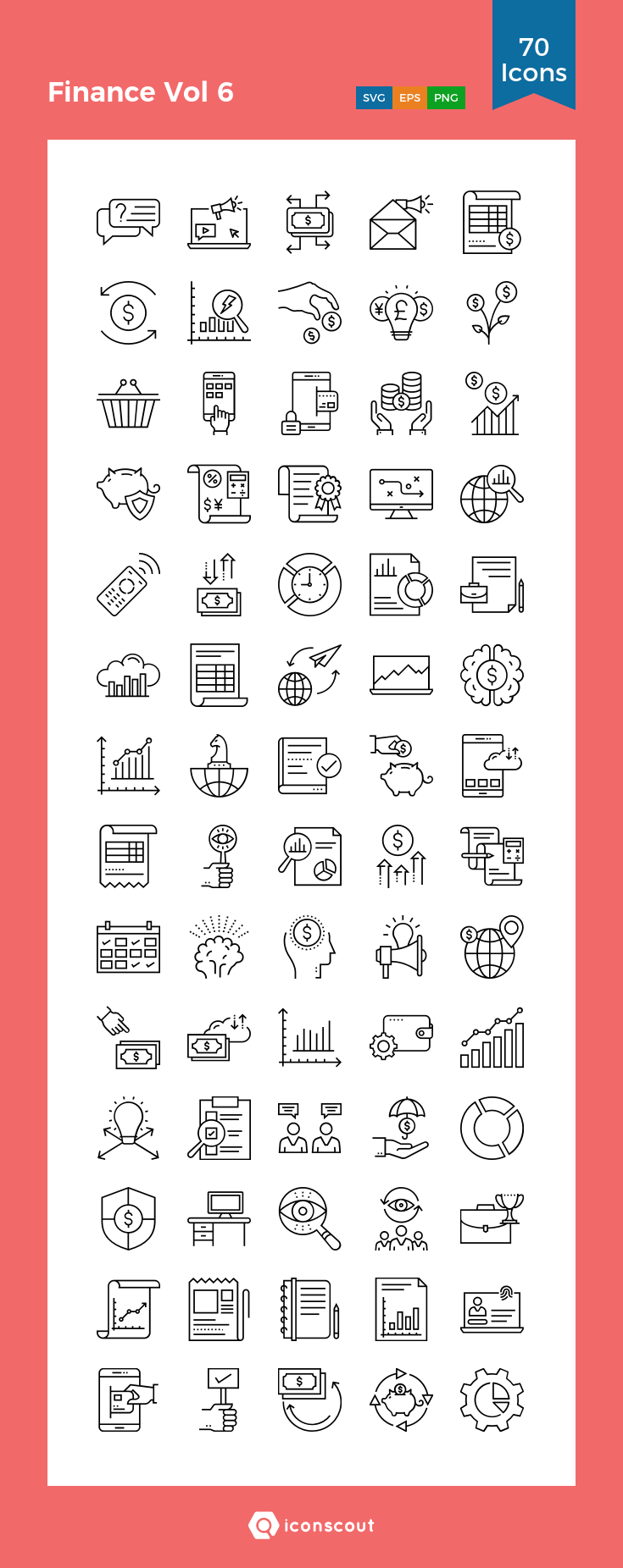 Finance Vol 6  Icon Pack - 70 Line Icons