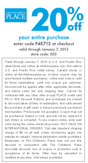 20 Off At The Childrens Place Or Online Via Checkout Promo P4k713 Coupon Via The Coupons App Printable Coupons Childrens Place Coupons Childrens Place