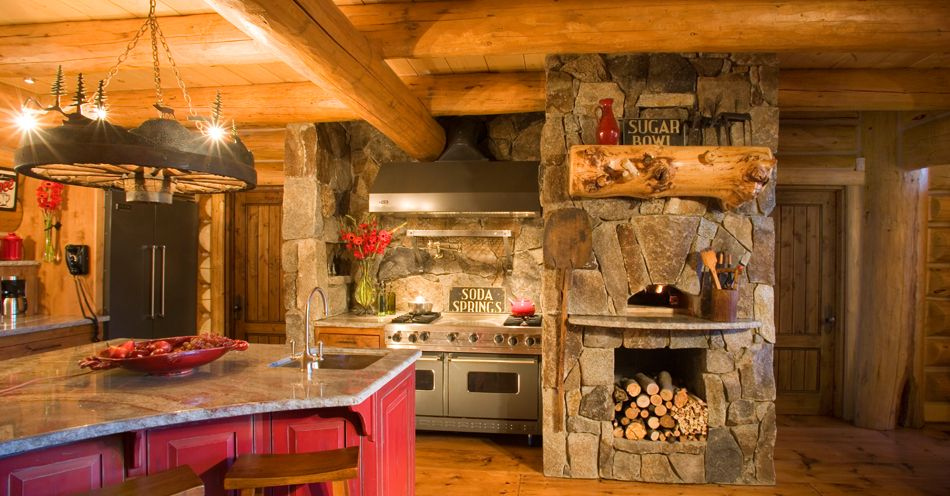 Log cabin kitchens kitchen backsplash patterns kitchen for Cabin kitchen backsplash ideas