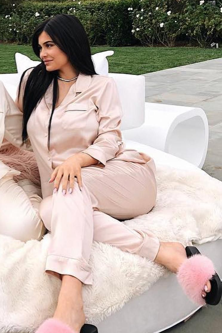 658dda7680d86 Kylie Jenner wearing Corey Lynn Calter Sienna Pajama Set in Palest Pink, Givenchy  Fur Slides in Bright Pink and Cartier Diamond Riviere Necklace
