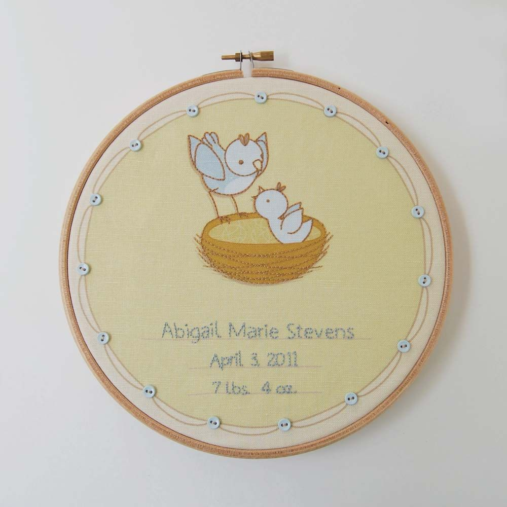 DIY Hand Embroidery Fabric Birth Record Panel, Baby Bird Design ...