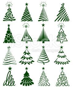 Various Christmas Tree Collection Zeichnen Aquarell Malen
