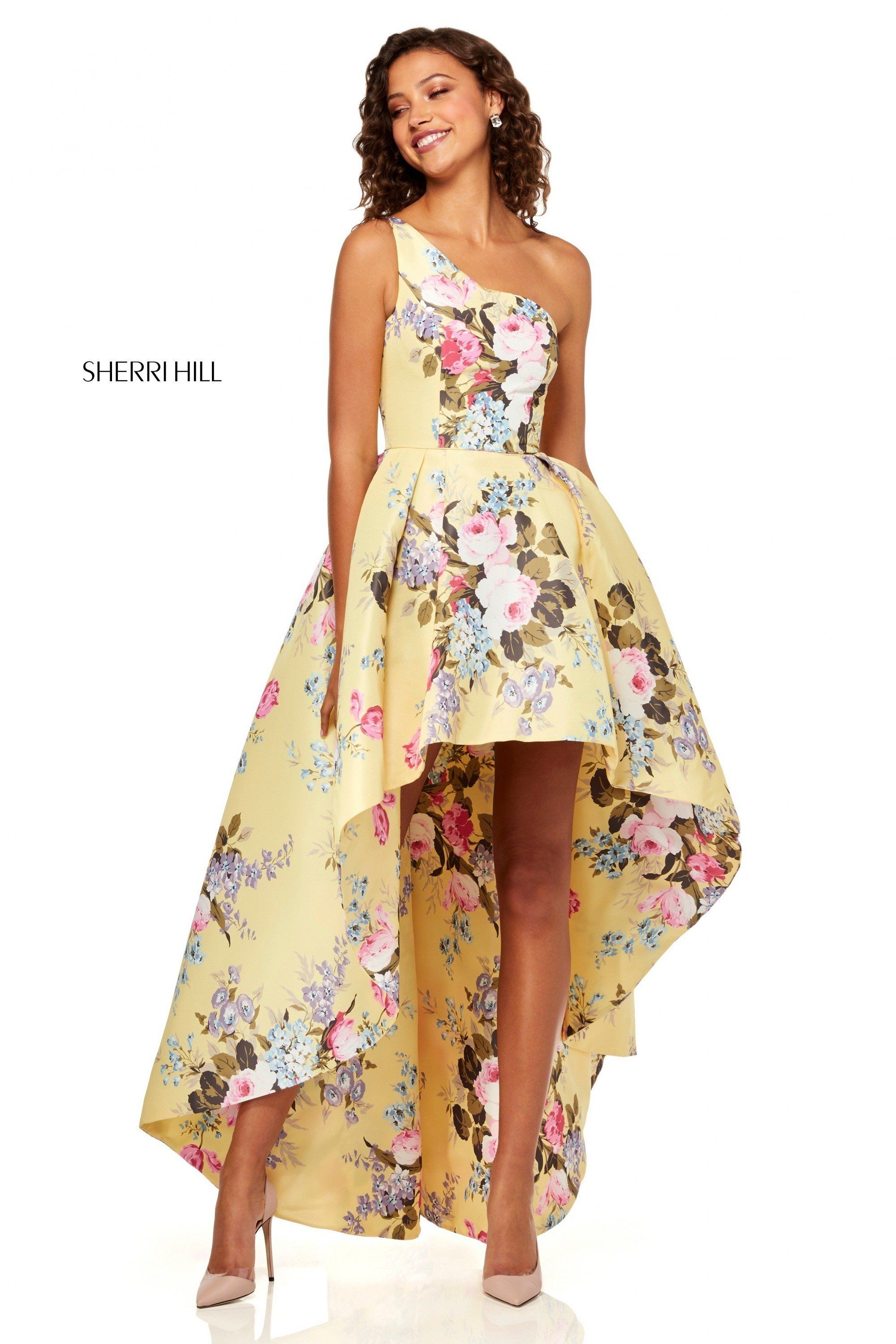 8ab670ad62 Sherri Hill 52489 One-Shoulder Floral Print Dress in 2019