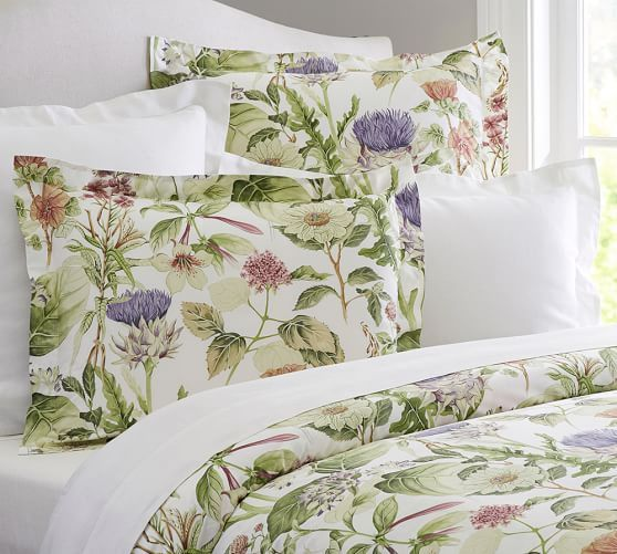 Thistle Floral Organic Percale Duvet Cover Shams Organic Duvet Covers Organic Duvet Pretty Duvet Covers