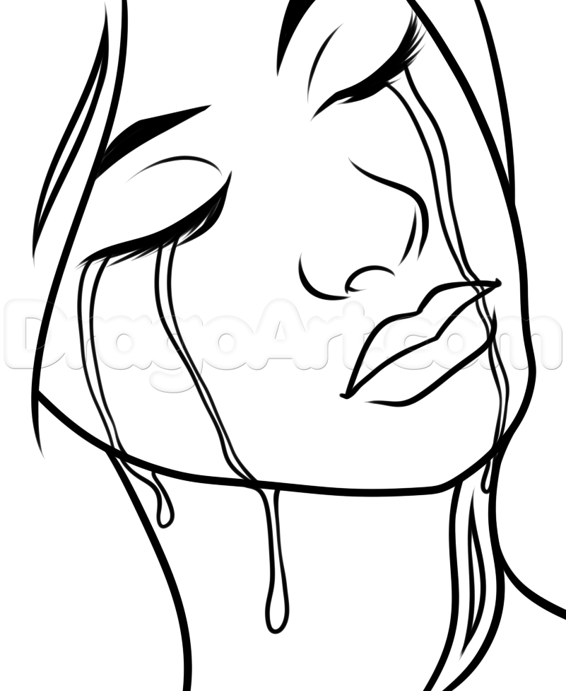 801x977 How To Draw Falling Tears Step 7 Art How To Draw Face Drawing Drawings Sketches