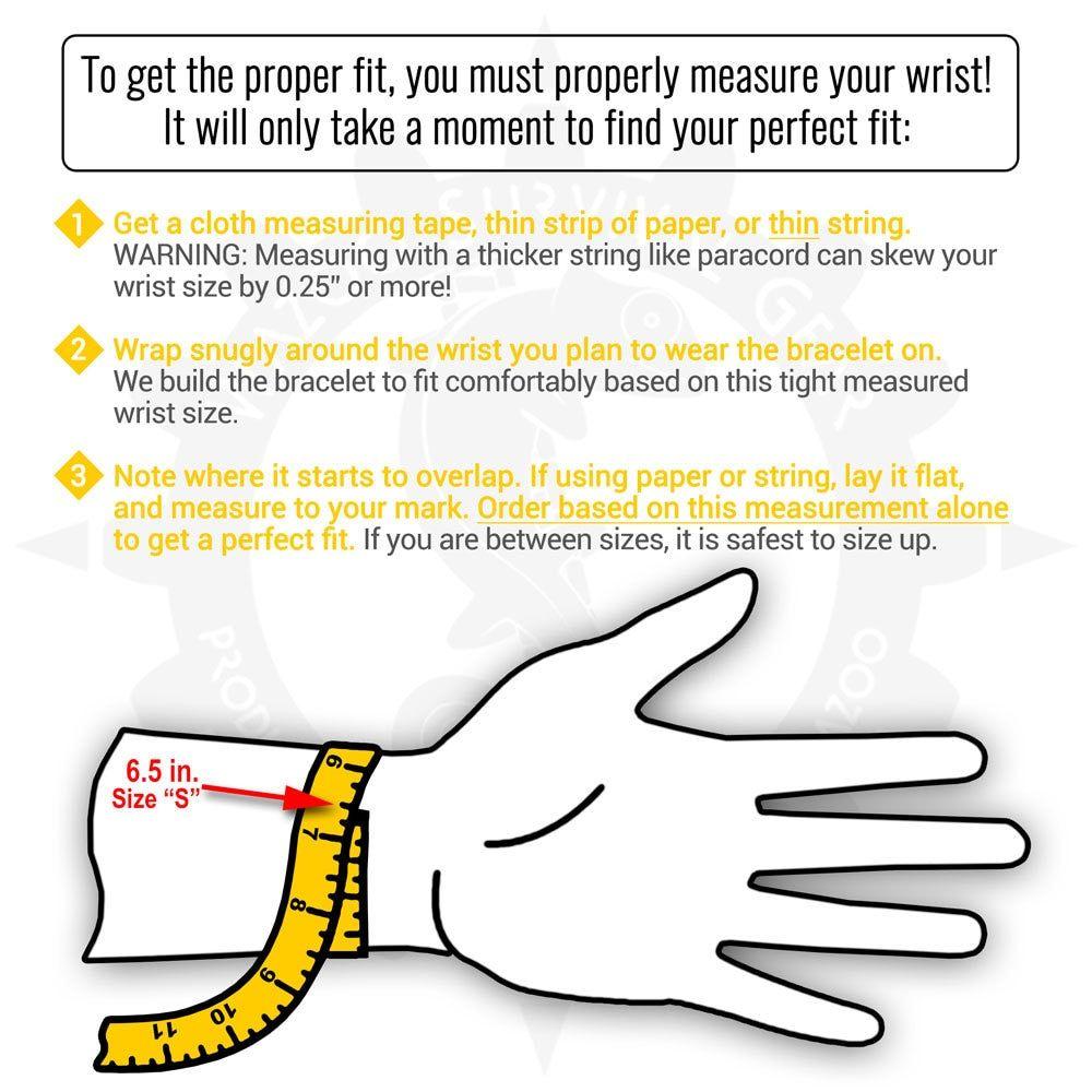 Wazoo Survival Gear bracelet wrist measuring guide (With