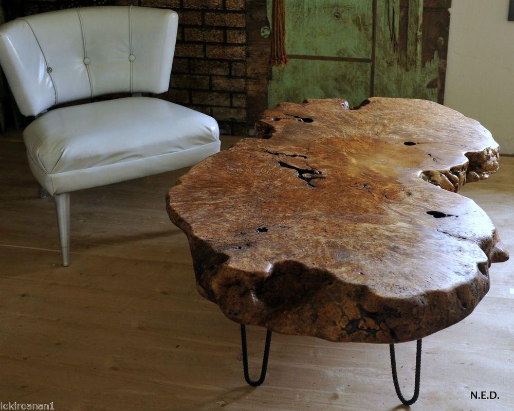 Burl coffee table maple 5 length by 3 width coffee