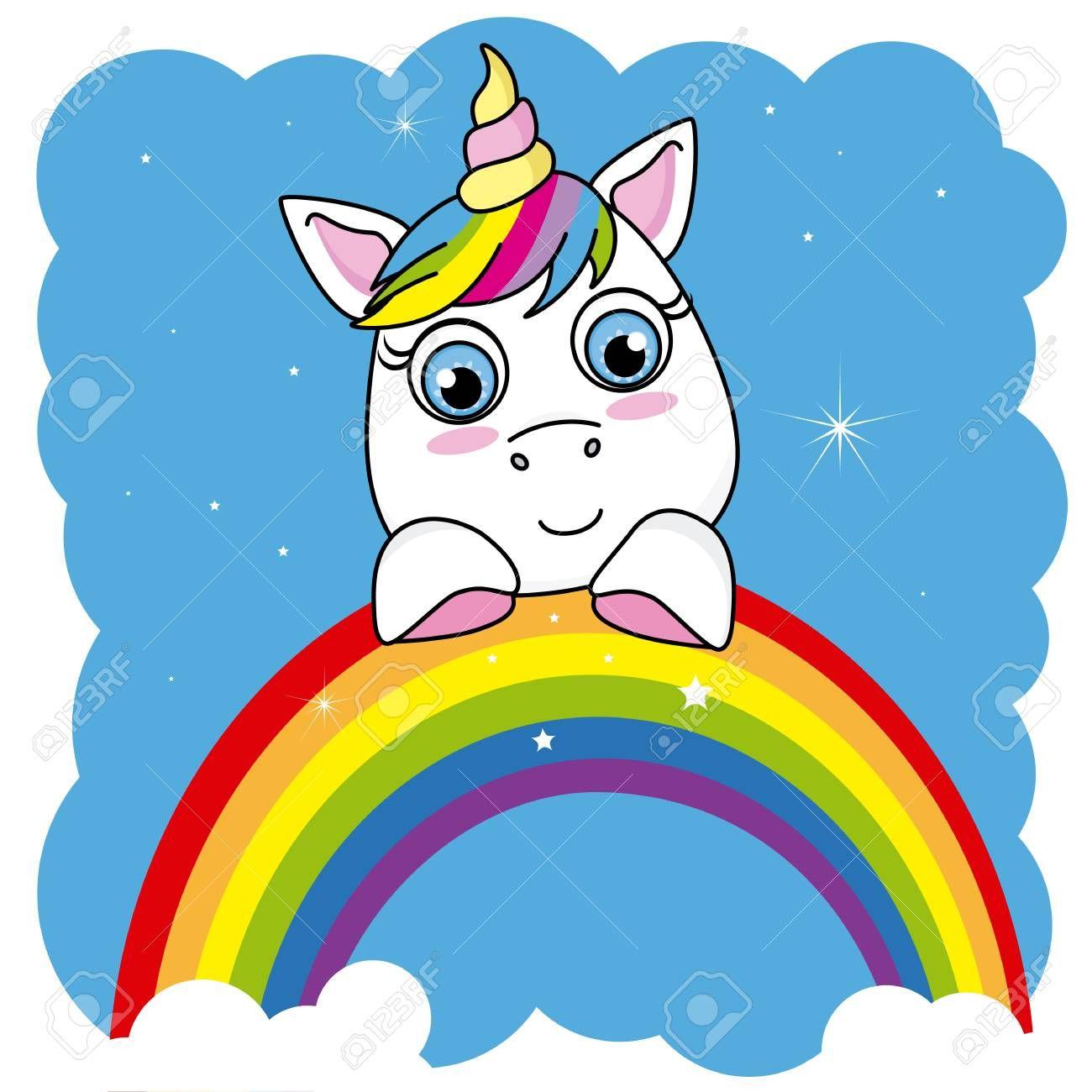 Cute Cartoon Unicorn On A Rainbow Ad Cartoon Cute Rainbow