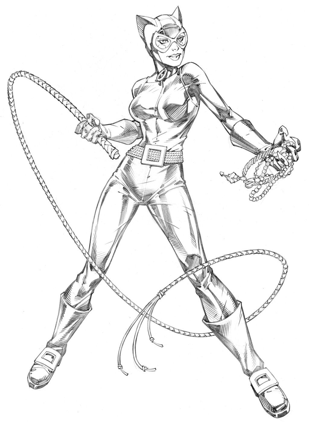 Catwoman By Randy Green Superhero Coloring Pages Batman