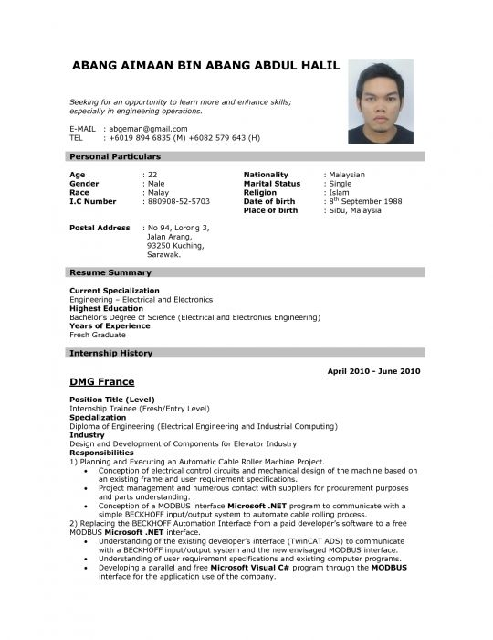 Example Of Resume For Job Application In Malaysia Resumescvweb - curriculum vitae format