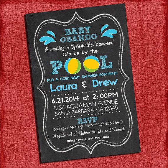 Baby Shower Pool Party Ideas find this pin and more on birthday party ideas Printable Pool Party Coed Baby Shower Chalkboard Style 4x6 Or 5x7 Invitation I Design You Print