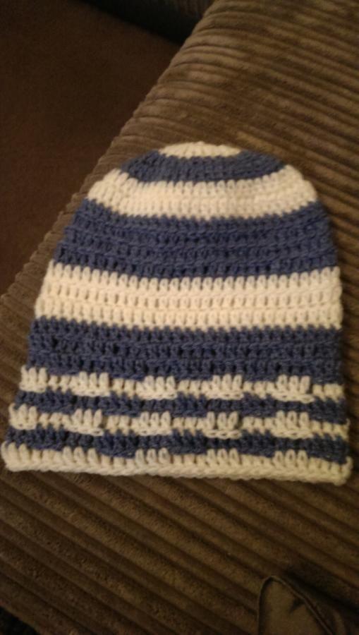 stripey beanie  - Crochet creation by maggie craig