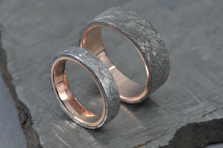 Meteorite Pair! Rose gold wedding ring set, engagement ring, gibeon meteorite, diamond