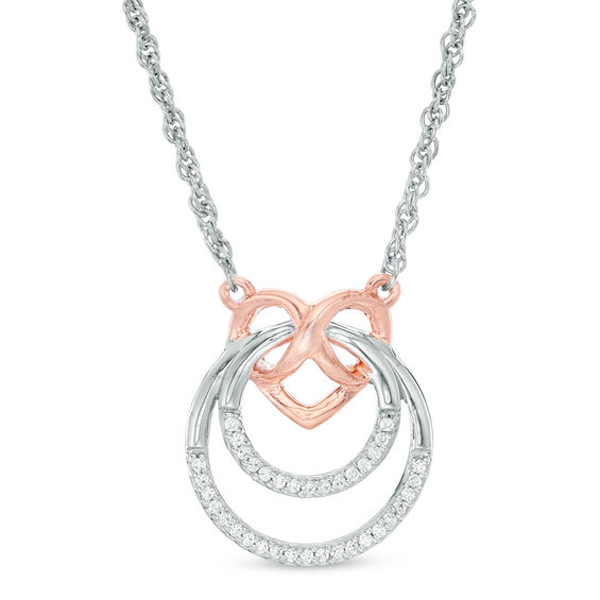 edd9d3ccb3f72 1/10 CT. T.W. Diamond Infinity Heart and Double Circle Necklace in ...