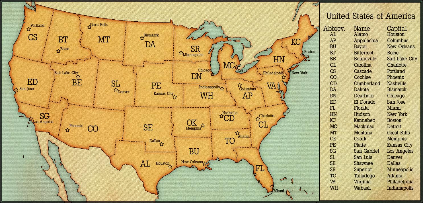 Usa States And Capitals By Alternatehistory Com Maps