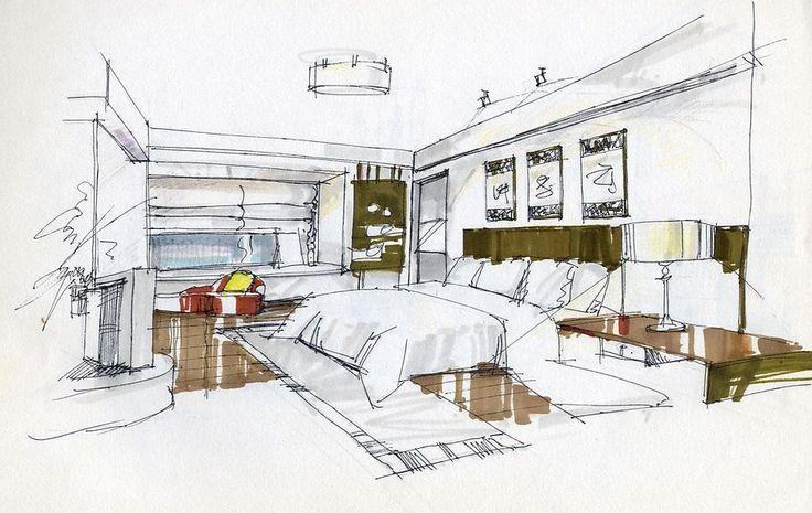 Intelligentes Design Set Interior Skizzen Architektur Innenarchitektur Haus Innenraume Inneneinrichtung Perspektiven Skizze