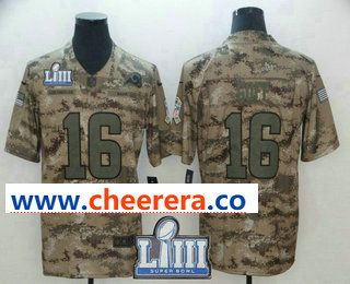 294a0b5ed Men s Los Angeles Rams  16 Jared Goff 2019 Super Bowl LIII Patch Camo  Salute to Service Stitched NFL Nike Limited Jersey