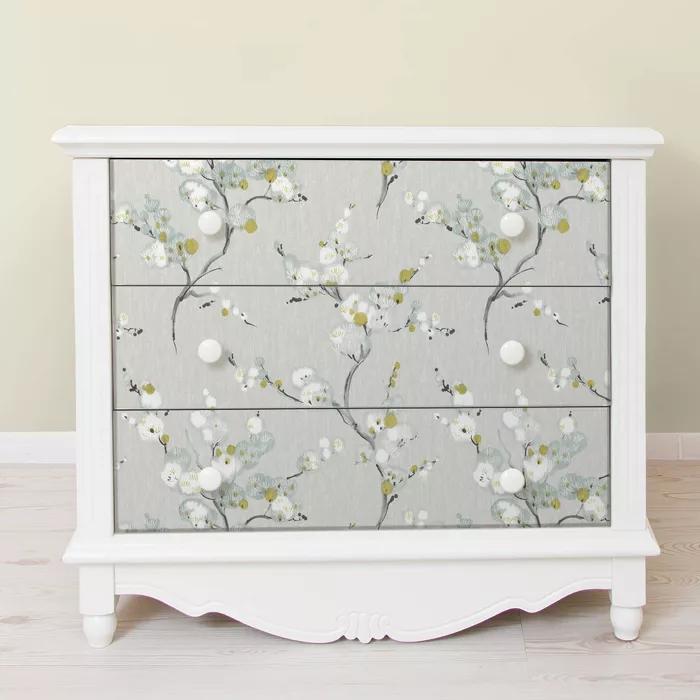 Nuwallpaper Mirei Peel Stick Wallpaper Wallpaper Furniture Shabby Chic Dressers Makeover Furniture Makeover
