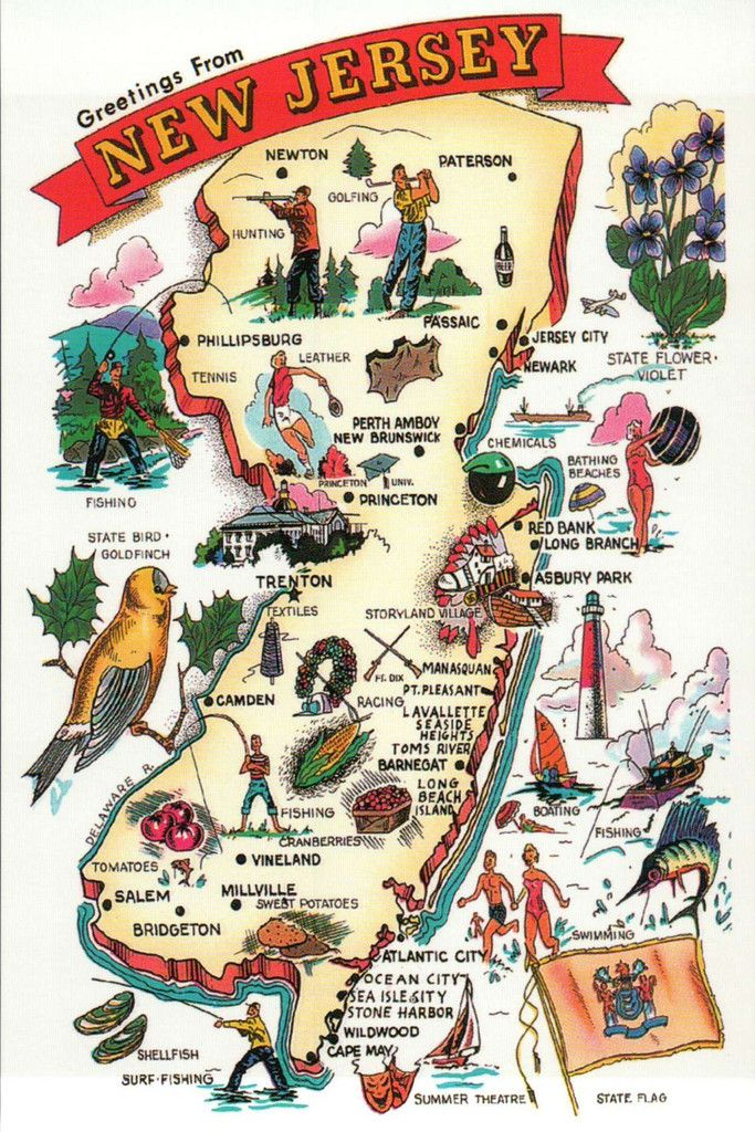 Icon Map Of New Jersey Postcard New Jersey Map Postcard