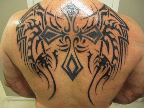 fe86b97c0e9c4 Cool Tribal Cross Tattoos: Dashing Back Tribal Cross Tattoos ~ Cvcaz Tattoo  Art Ideas ~ Tattoo Design Inspiration