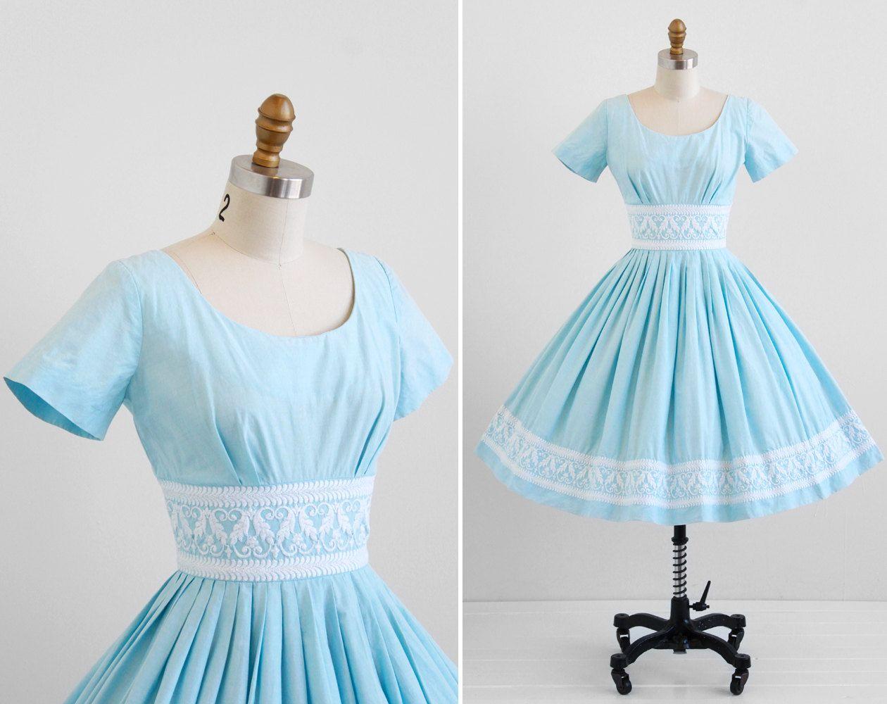 vintage 1950s dress / 50s dress / Sky Blue Cotton by RococoVintage ...