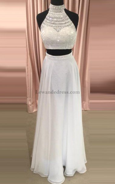 Ivory A Line Chiffon Beaded 50809 Two Piece Evening Gown | Prom ...