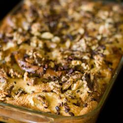 Baked French Toast with Bananas, Walnuts, and Cacao Nibs