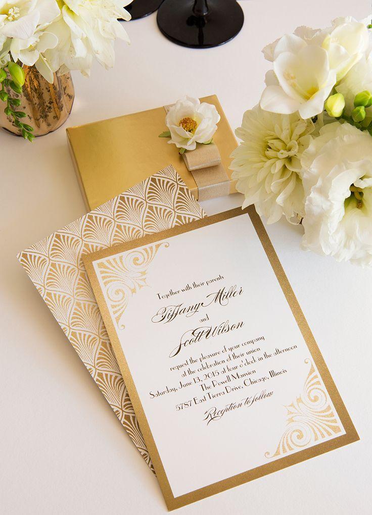 Elegant Gold And White Wedding Invitation Goldwedding Stationery Invitation Ar Art Deco Wedding Invitations Art Deco Invitations Trendy Wedding Invitations