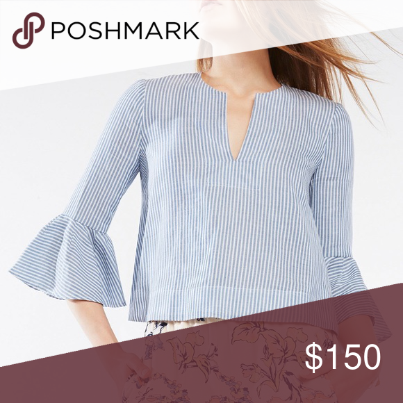 e1c0f8d1cede BCBGMAXAZRIA VALARI RUFFLE SLEEVE STRIPED TOP Embrace sun-drenched chic in  an airy tunic top with vintage-inspired pinstripes and statement ruffle  sleeves.