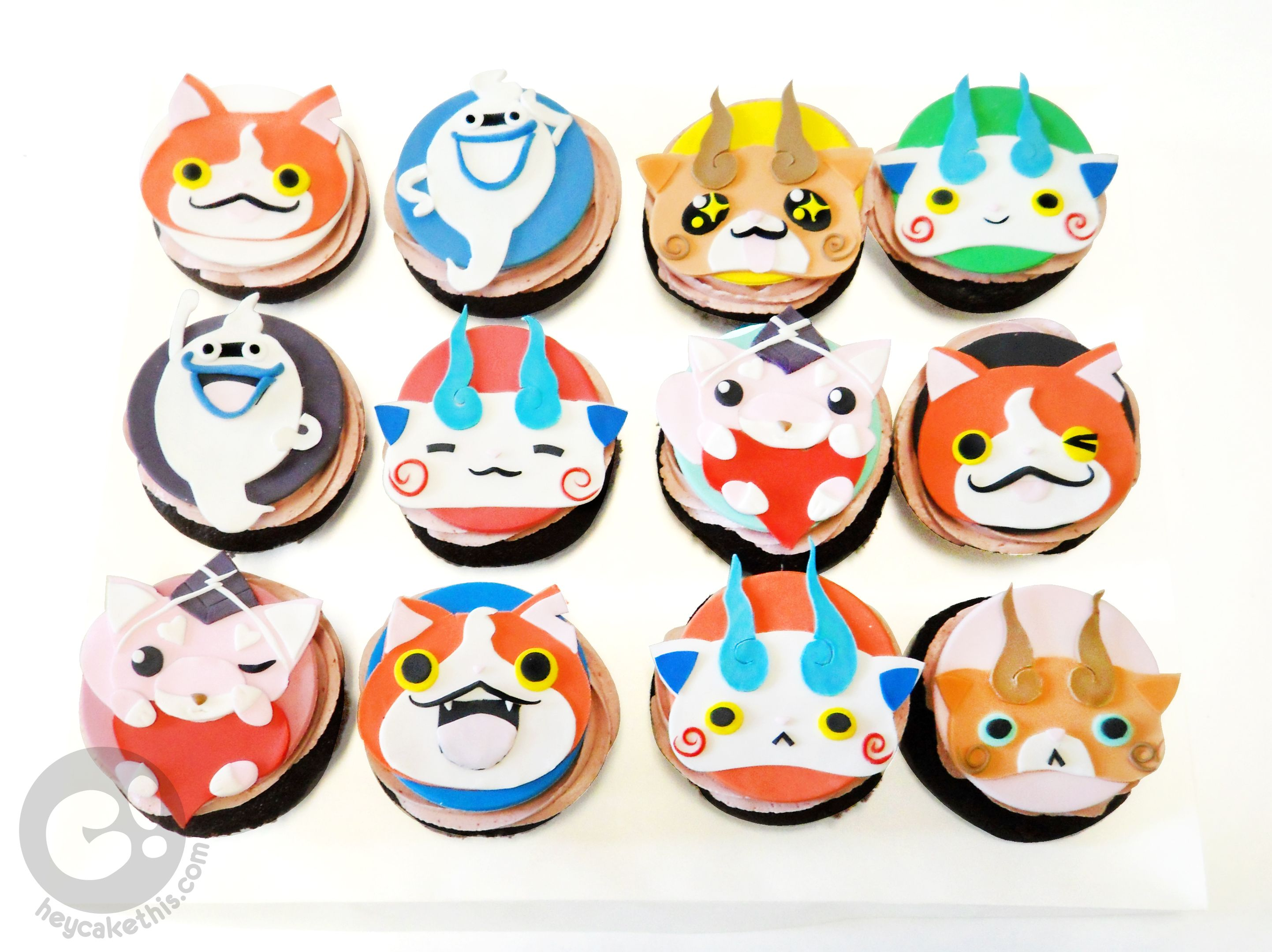 Yo Kai Watch Character Cupcakes With Jibanyan Whisper Koma san
