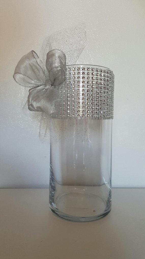 ribbon vases centerpiece vase rhinestone centerpieces glass table decorations reception organza cylinder decor bridal diy diamond bling tulle decoration flower