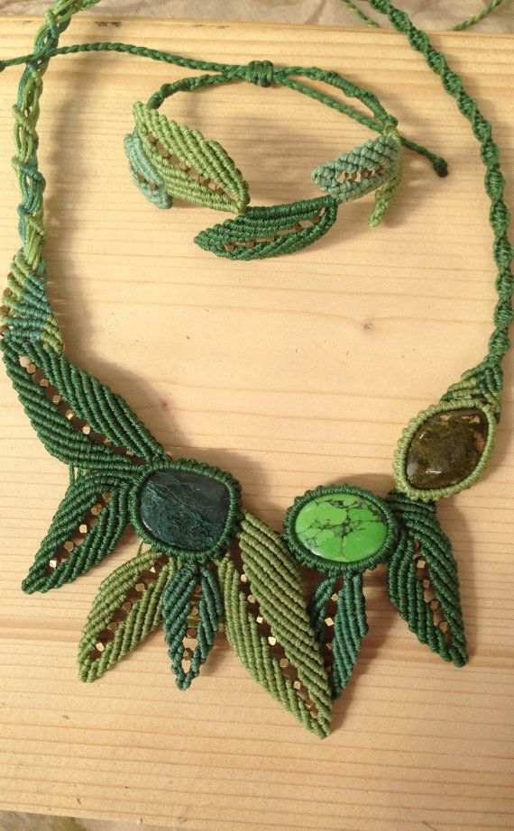This necklace based on moha achat, green variscite, unakite gem stones. The leaves made with macrame technique with precise handmade work.   The lenght of the necklance is adjustable.