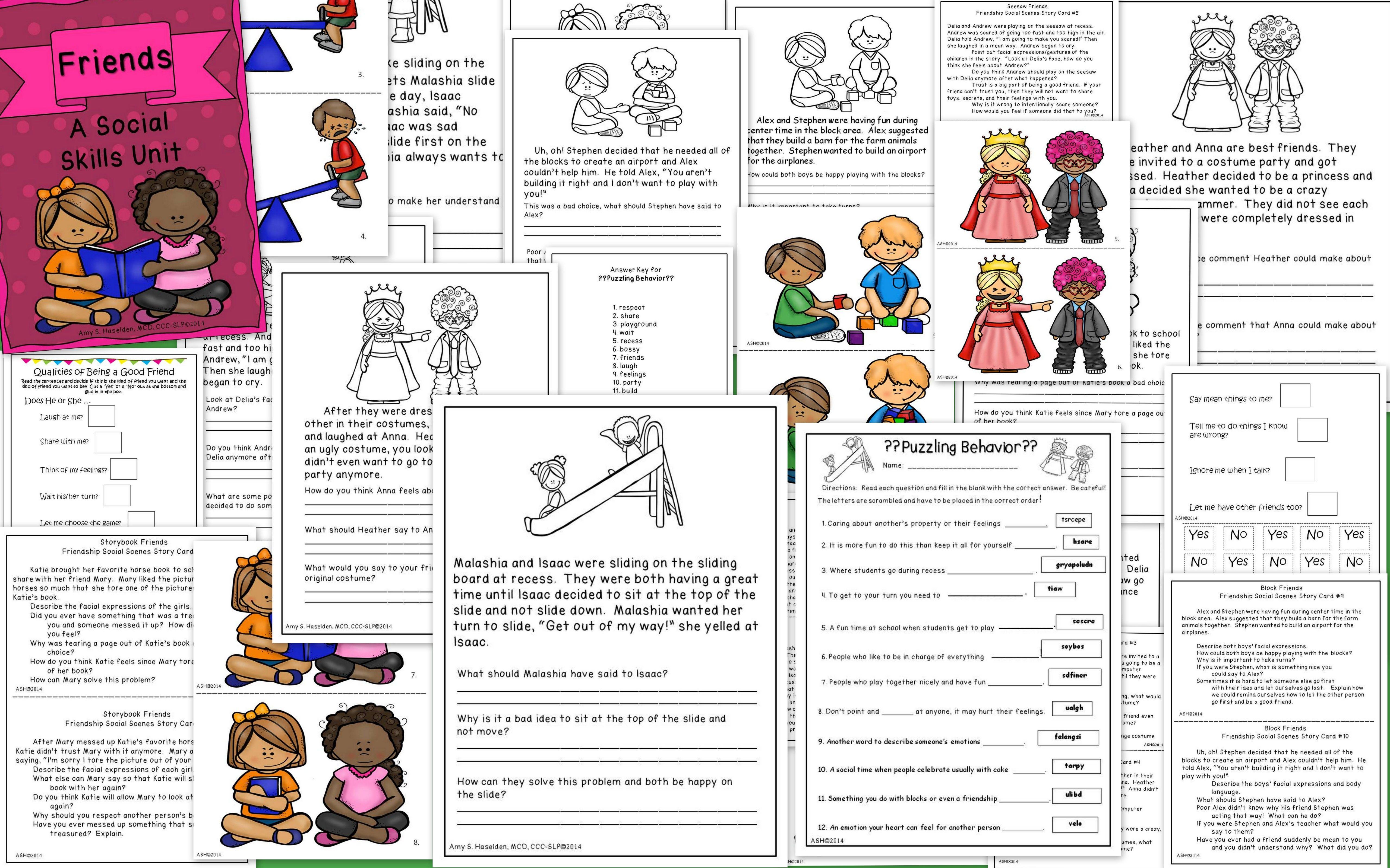 Social Skills Unit Friends Primary Social skills, Higher