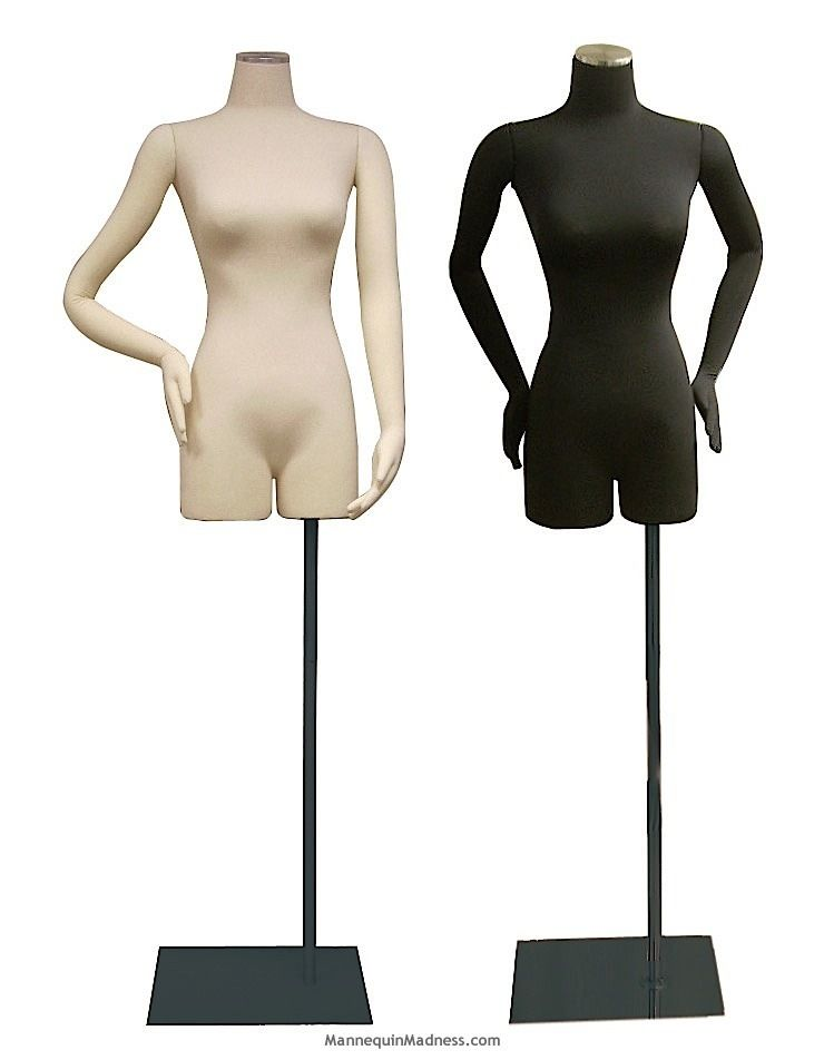 Female Half-leg Body Form with Bendable Cloth Arms: White Jersey ...
