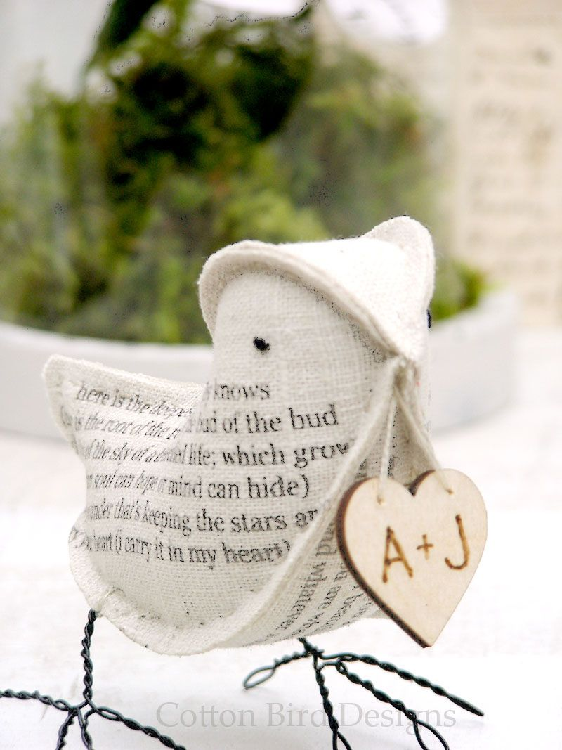 4th Wedding Anniversary Natural Linen Bird Featuring The Poem I Carry Your Heart With Me Ee Mings Made To Order By Cottonbirddesigns On Etsy