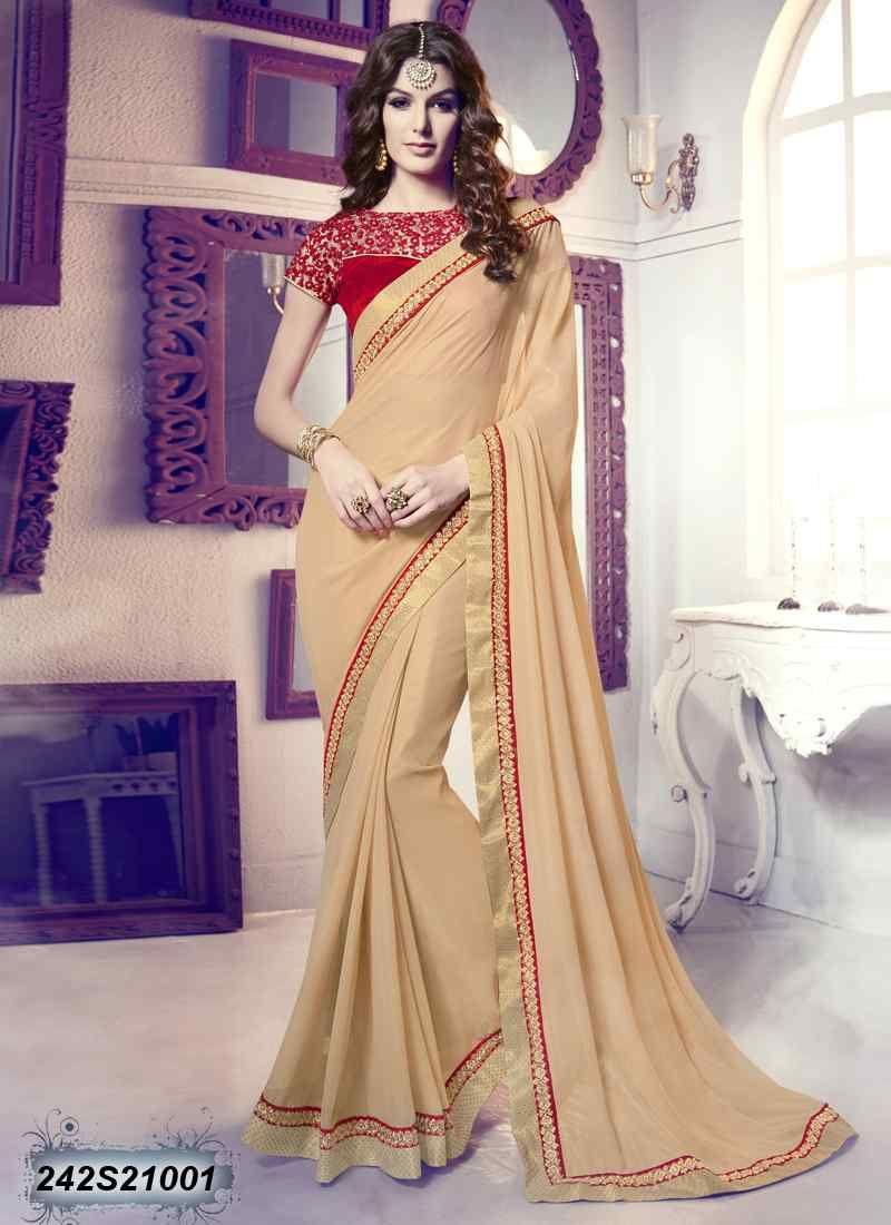 Saree for women wedding charming beige coloured georgette embroidered saree  designer