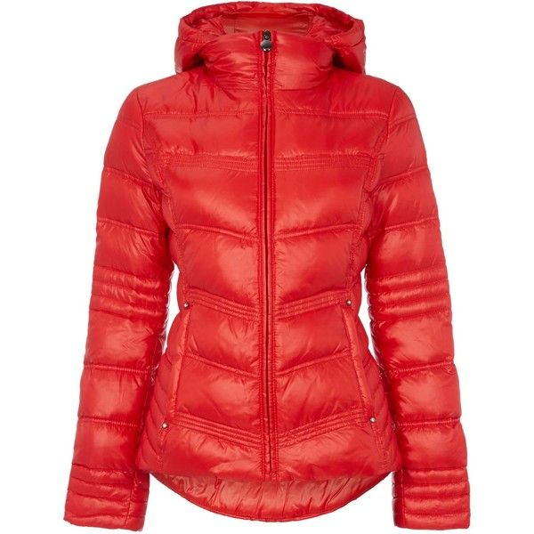 Dawn Levy Down hooded zip jacket ($170) ❤ liked on Polyvore featuring outerwear, jackets, clearance, orange, hooded zip jacket, zip jacket, long sleeve jacket, red zip jacket and zipper jacket