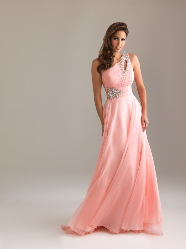 Pink One-Shoulder Beaded Empire Waist Ball/Prom/Bridesmaid/Formal ...