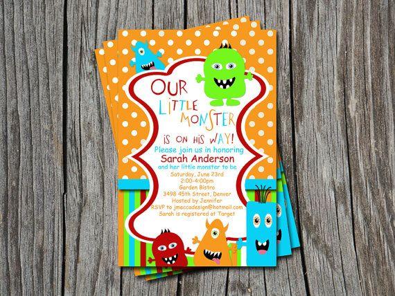 Little Monster Baby Shower Or Sprinkle Invitation Card Any Color