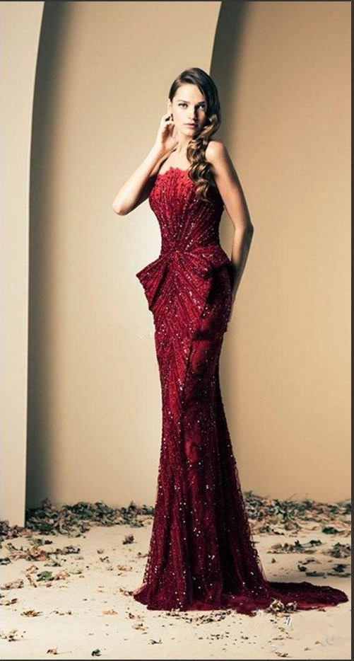 Luxury Long Mermaid Evening Prom Gown Beads Celebrity Pageant Formal Party Dress