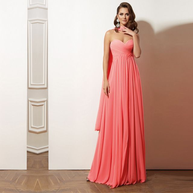 Coral Colored Bridesmaid Dresses Sexy Strapless Floor