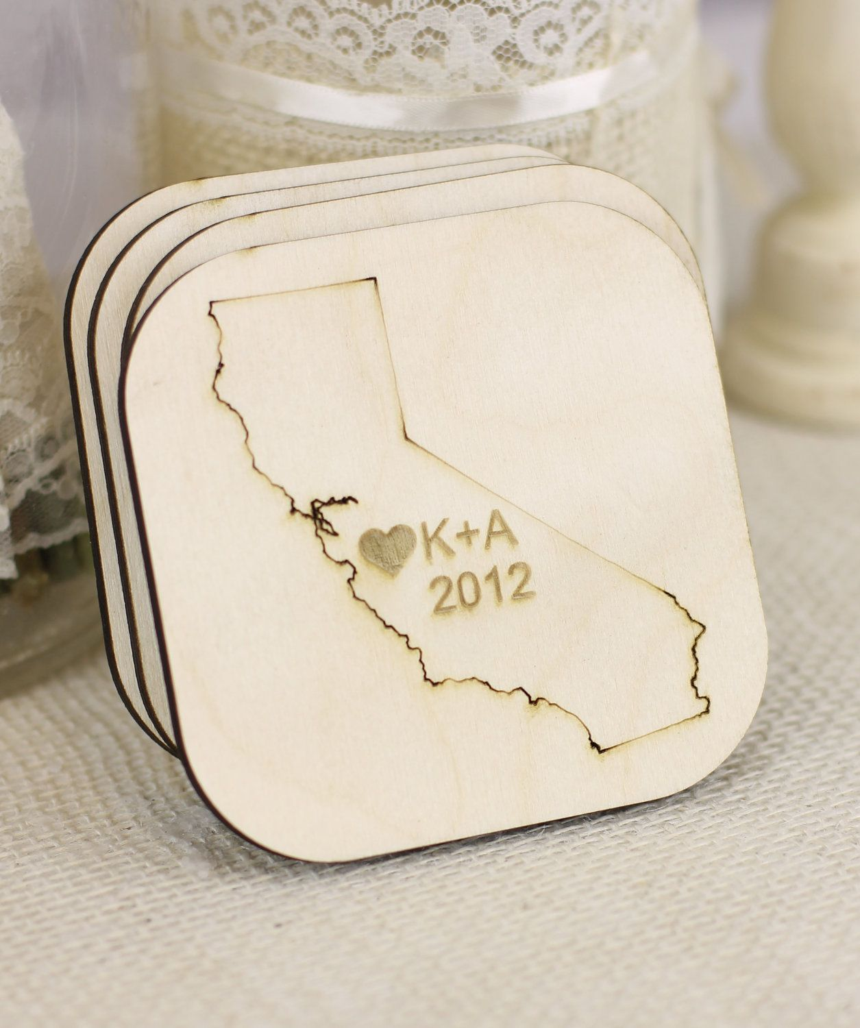 Personalized Rustic Wedding Favors State Coasters via Etsy ...