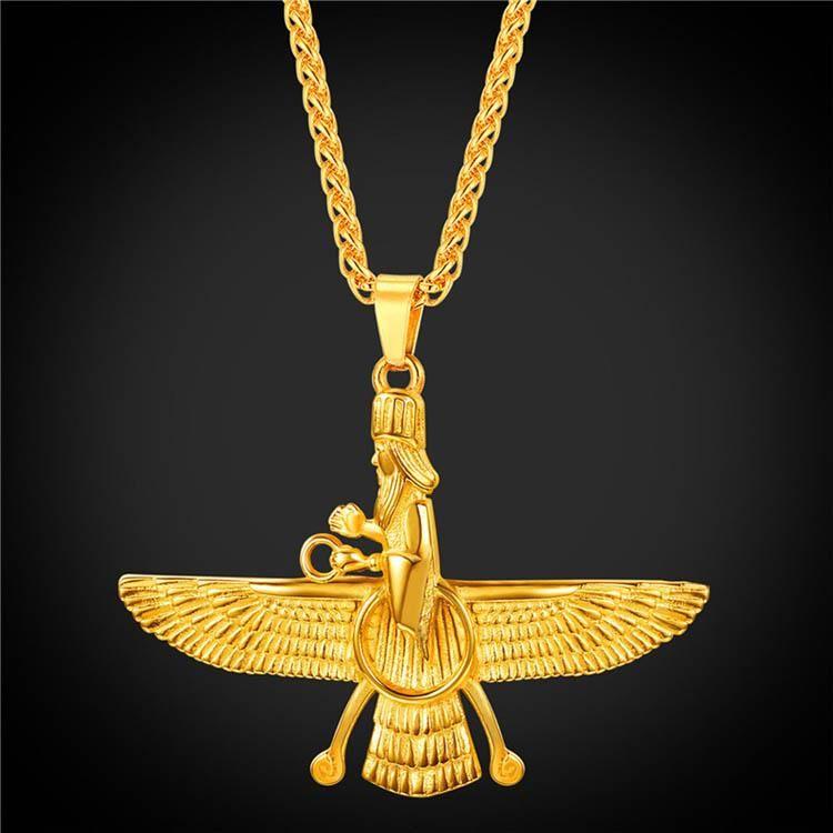 Persian Faravahar Necklace 18K Gold Plated Iranian Nationalism Pendant  Zoroastrianism Jewelry For Men 40a6c0659708